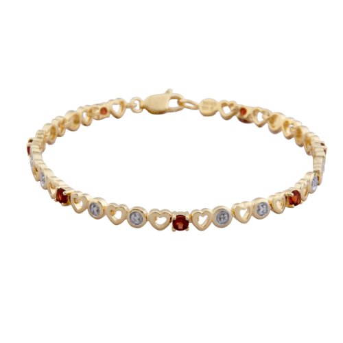 18k Yellow Gold Plated Sterling Silver Garnet Heart Bracelet, 7.25""