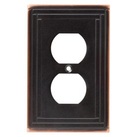 ... Single Duplex OUtlet Cover Selby 144054 Bronze With Copper Highlights