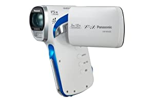Panasonic WA20 Full HD MP4 Vertical Camcorder - White/Grey/Blue (16MP, 3M Waterproof, Dustproof, 15x Intelligent Zoom, 240fps Slow-Motion Recording, Panorama Mode, EIS, Eye-Fi Ready, SD Card Recording, Face Recognition) 2.6 inch LCD