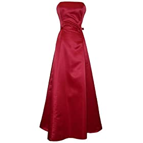 50's Strapless Satin Long Gown Bridesmaid Prom Dress Holiday Formal