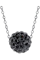 .925 Sterling Silver Black Crystals Ball 10mm Pendant Necklace 18""