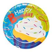 Happy Birthday Party Pack Cupcake Design 18 Plates 20 Napkins - 1
