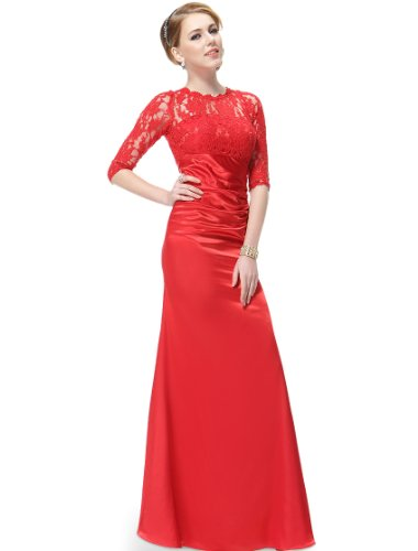 HE09882VE08, Vermillion, 6US, Ever Pretty Elegant 3/4 Sleeve Lace Women's Long Vermillion Maxi Dress 09882