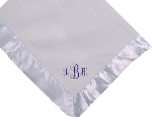 Custom Embroidered Monogram Blue Fleece Monogrammed Personalized Baby Blanket Yellow Thread front-407190
