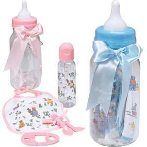 BABY BOTTLE GIFT BANK- PINK 10''Baby King bottle Bank includes Bottle Fork Spoon Teether Bib BABY Shower NEWBORN GIFT
