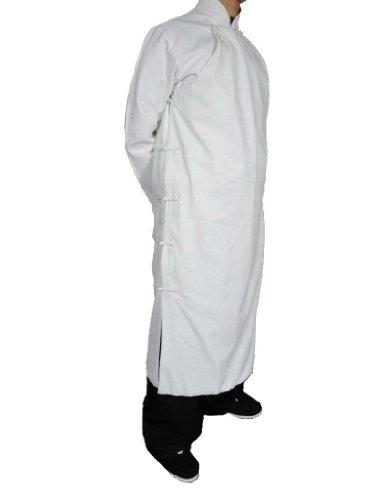 Interact China Kung Fu Kampfkunst Tai Chi Langer Mantel Robe - Von Schneider Gefertigt Premium Leinen Weiß XS
