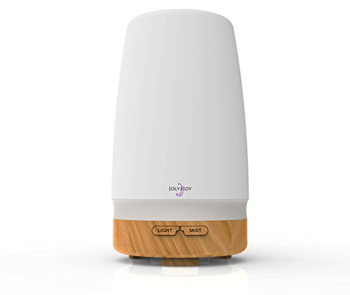 Joly Joy®暖色ライト アロマディフューザー 超音波式 卓上 加湿器 100ML (木目)