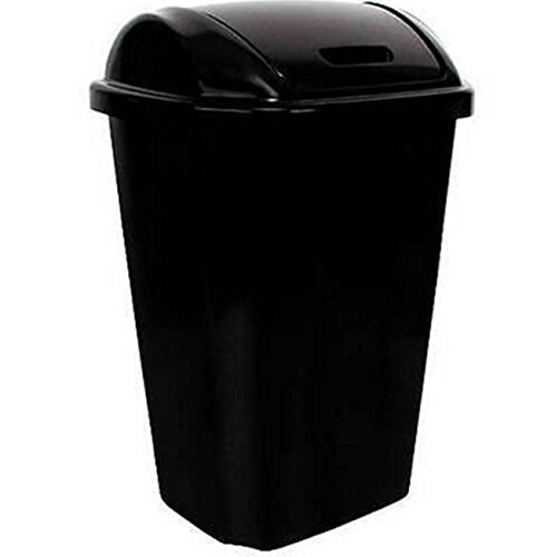 Swing Lid 13.5 Gallon Trash Can Black Waste Basket Garbage Bin Kitchen Durable Using (Big Kitchen Trash Can compare prices)