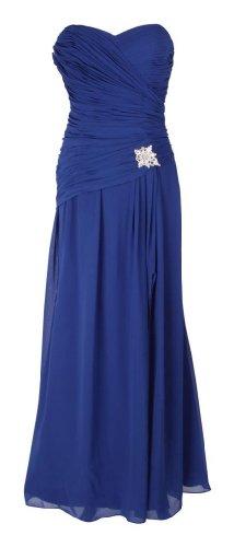 Damen Abendkleider Bandeaukleider Trägerlose Cocktailkleider Chiffonkleider schulterfreie Ballkleider Frauen Blau 44 UK 18