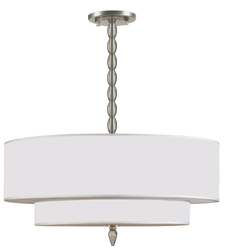 9507-SN Luxo 5LT Convertible Fixture, Satin Nickel Finish and Light Gold Semi-Sheer Shade