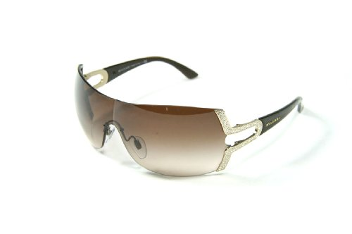 Bulgari Women's 6038b Pale Gold Frame/Brown Gradient Lens Rimless Sunglasses