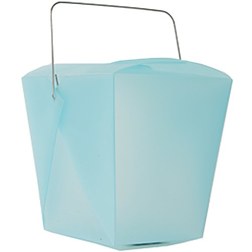 Large Blue Plastic Chinese Takeout Container (4 x 3 1/2 x 4) - Sold individually