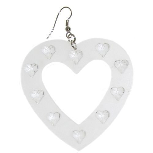 Large Plastic Heart Earring In Crystal with Silver Finish