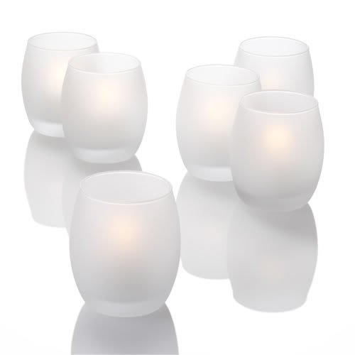 Set of 12 Grande Hurricane Votive Candle Holders, Frosted Glass