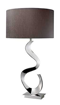 Dimond D1820 16-Inch Width by 30-Inch Height Morgan Table Lamp in Chrome with Grey Faux Silk Shade