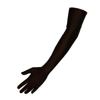 Ultralange Satin-Handschuhe in Kokett Schwarz, Größe:OS