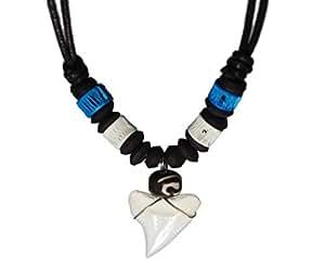 Amazon.com: Shark Tooth Blue White Bones Necklace Handmade Hawaiian