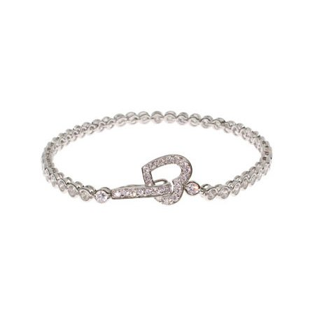 Sterling Silver Bubbles Tennis Bracelet with Heart Clasp