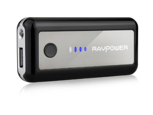 RAVPower� 5600mAh External Backup Battery Quit Charger / Power Bank (Premium Samsung Cells Adopted, 5V / 1A Sample USB Output, Built-in Flashlight, Free Bulkhead Charger & Carrying Pouch Included).Fit for Android & Apple Devices, Fashionable Phones, Table