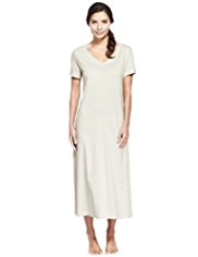 Per Una Pure Cotton Cool Comfort™ Striped Long Nightdress