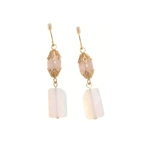 Lisbeth Dahl Matt Gold Earrings with Rose Cream Pearl