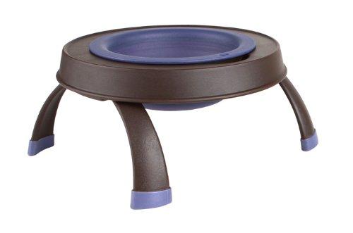 Dexas Popware for Pets Elevated Single Feeder Bowls with Legs Medium Brown Purple