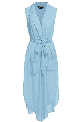Zeagoo Women?s Summer Sleeveless V Neck Split Tie-waist Pockets Long Dress