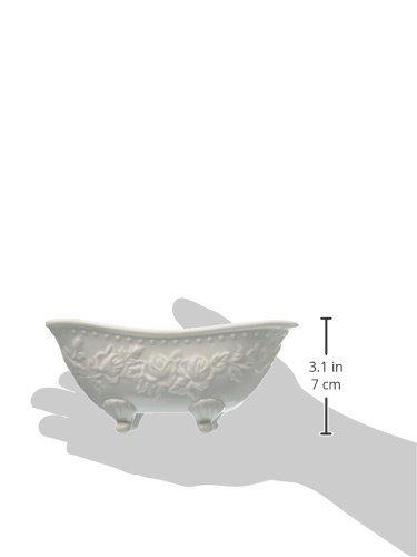 Abbott Collection Porcelain Embossed Bathtub Soap Dish, White