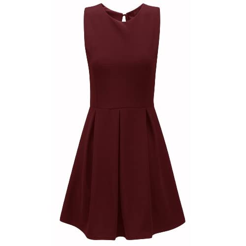 Ladies Textured Tailored Pleated Skater Dress Plus Size UK 8-20