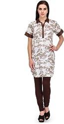 BPT Stylish White & Brown Cotton Printed Woman's Kurti ( Size XXL / 44