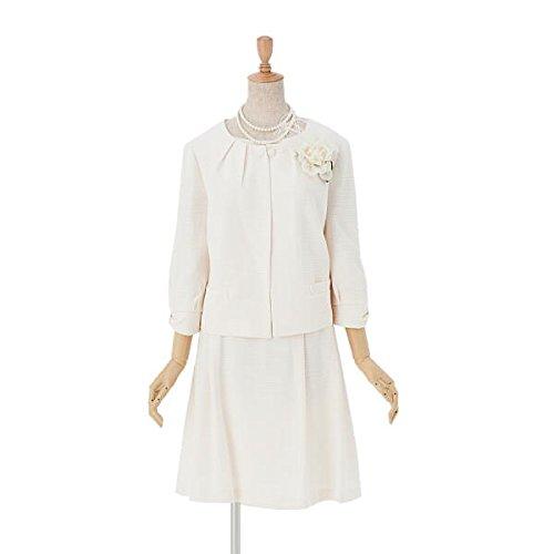 (アンジェリカ)Angelica クリームベージュ 19号 高級感ある セレモニースーツ 3点セット ツイードノーカラージャケット ワンピース スカート 七分袖 大きいサイズ