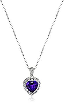 """buy Platinum-Plated Sterling Silver, Amethyst, And White Topaz Heart Pendant Necklace, 18"""""""