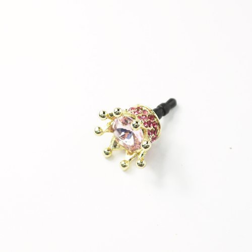 Rhinestone 3D Crown Headphone Plug Charm - Red For Iphone 5, 4S, 4G, Samsung Galaxy, Htc