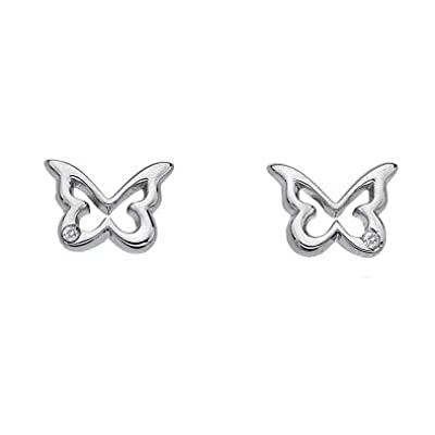 Hot Diamonds Shooting Stars Silver Diamond Butterfly Stud Earrings DE332