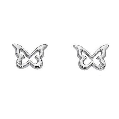 Hot Diamonds Shooting Stars Silver Diamond Butterfly Stud Earrings DE332