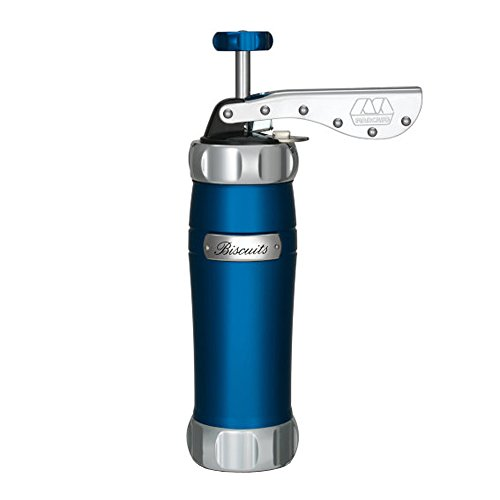 Marcato Made in Italy Atlas Deluxe Biscuit Maker Cookie Press, Stainless Steel, Blue, Includes 20 Cookie Disc Shapes, 10-Year Warranty (Marcato compare prices)