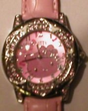 Brand New Hello Kitty Crystal Pink Band Watch & Hello Kitty Pouch + Extra Battery