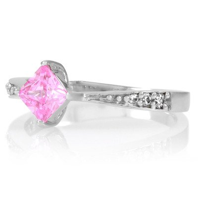 Elisa's Promise Ring - Pink Princess Cut CZ Size 7 Sterling Silver Engagement Band w/Cubic Zirconias Wedding New Celebrity Inspired Fashion