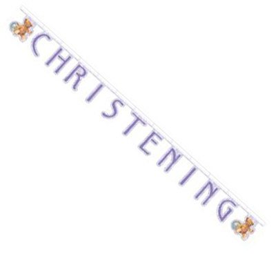 Vintage Nursery Baby Christening Jointed 7-Foot Banner front-563148