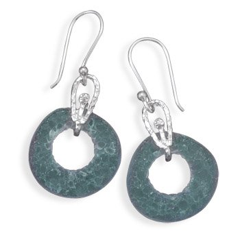 Sterling Silver Cut Out Roman Glass Earrings