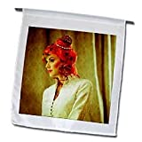 Seventies searching color about a female with red hair modeling - 12 X 18 Inch Garden Flag