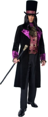 Smiffy's Men's The Gothic Count Costume Mock Waistcoat with Attached Cravat Jacket Hat, Black/Purple, Large