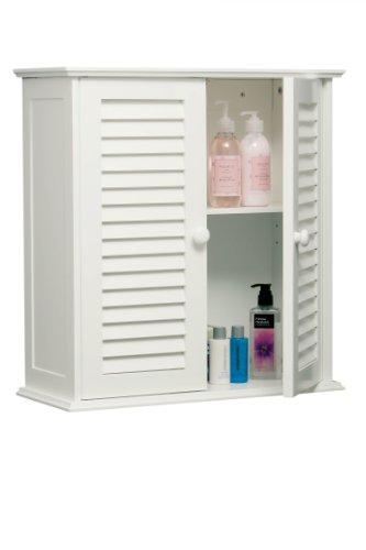 Badezimmer-Hängeschrank mit Lamellen-Doppeltür, 55 x 52 x 22 cm, weiß