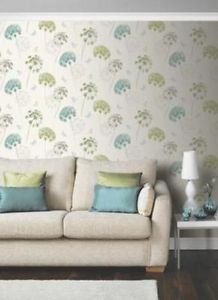 Kitty Motif Wallpaper Teal Green by New A-Brend