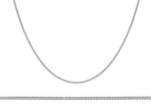 Plain Chain Necklace in 9ct White Gold (length