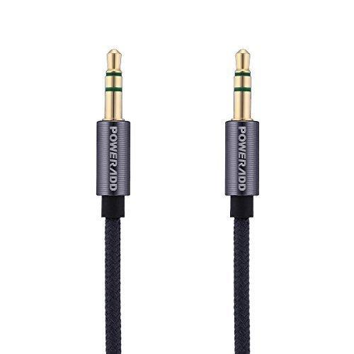 Poweradd 3.5mm Nylon tressé Câble audio auxiliaire (1.0m) anti-emmêlement AUX câble pour casque Beats, iPods, iPhones, iPads, Accueil autoradios et Plus