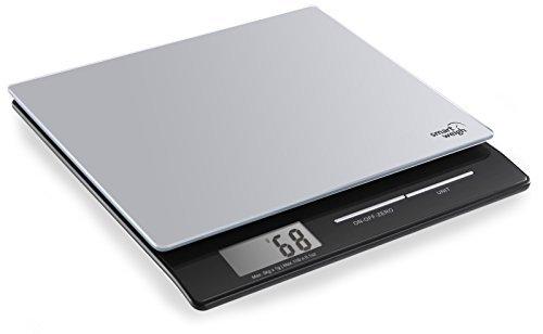 Smart Weigh PL11B Pèse-lettres et balance de cuisine numérique intelligente avec écran large et plateau en verre trempé