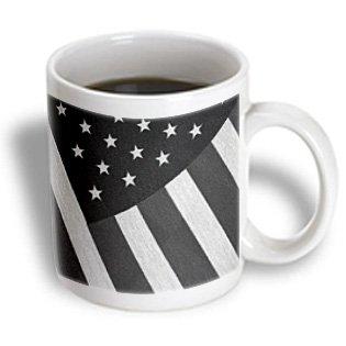 3Drose Cloth American Flag Black N White Ceramic Mug, 15-Ounce