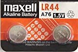 Maxell LR44 Alkaline 1.5V Battery, 2-Pack