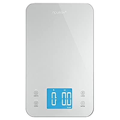 Greater Goods Nourish Digital Kitchen Food Scale + Timer - Ultra Slim Design and Easy to Clean Weighing Surface, Silver